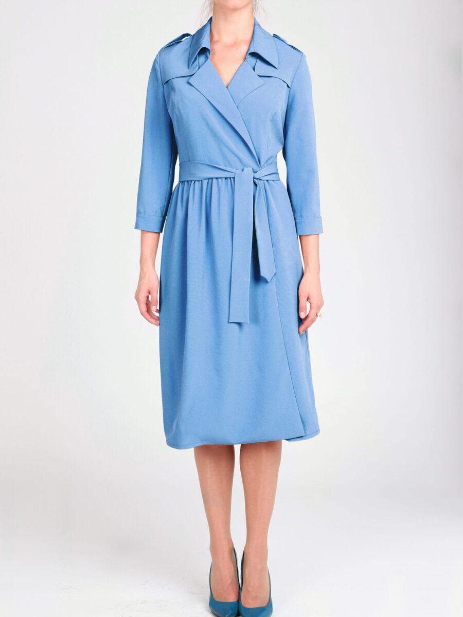 Голубое платье-тренч