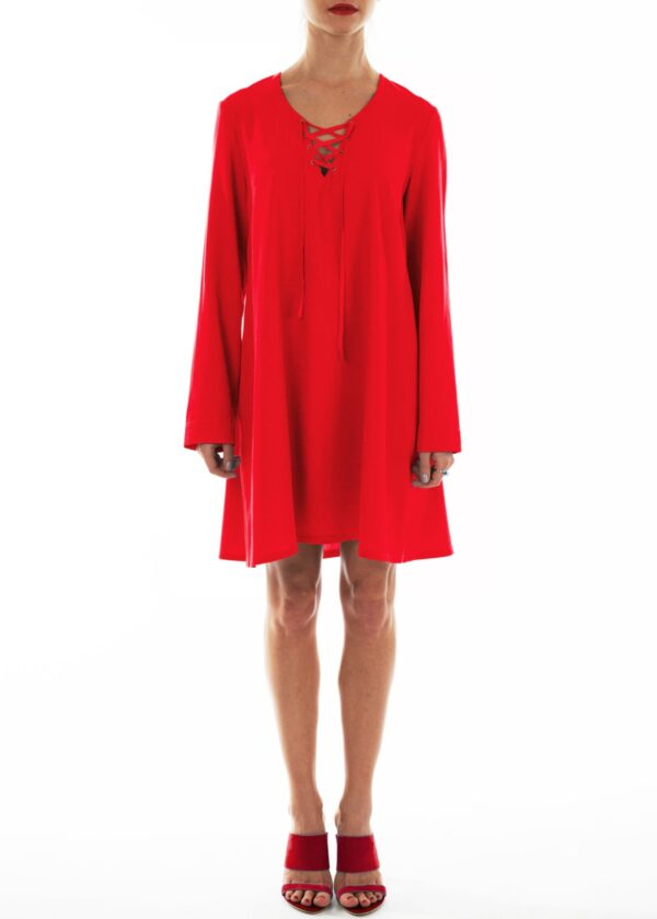 Красное летнее платье