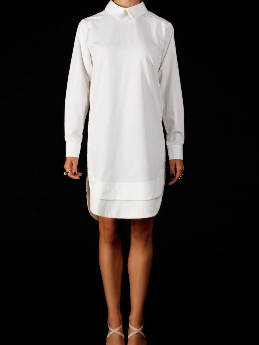 Женское белое платье рубашка