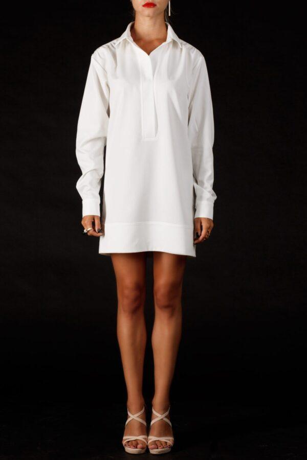 Женское белое платье-рубашка