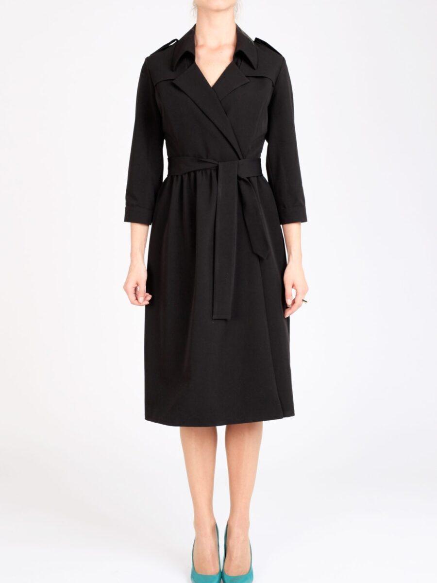 Черное платье-тренч