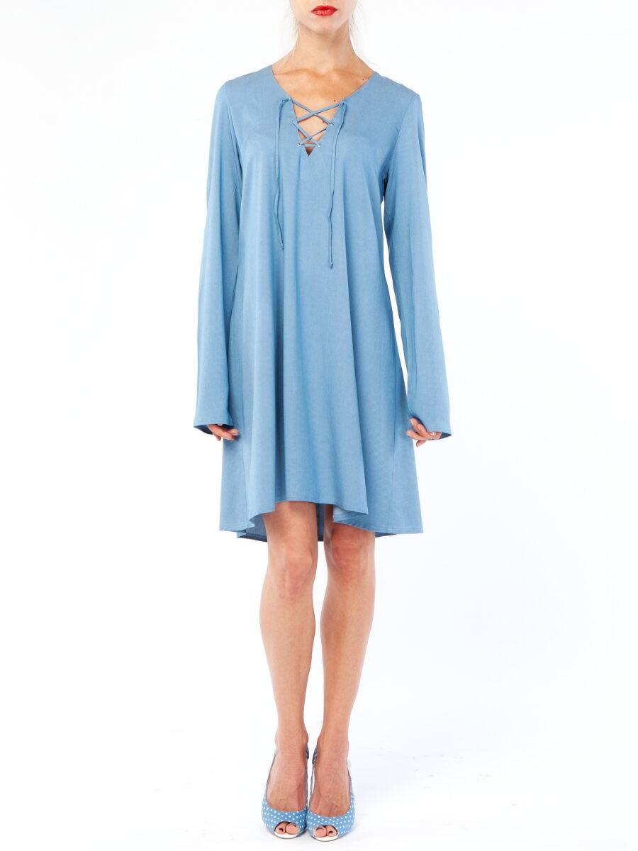 Голубое летнее платье