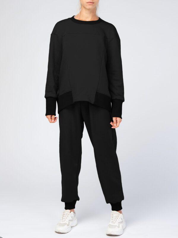 Черный женский спортивный костюм